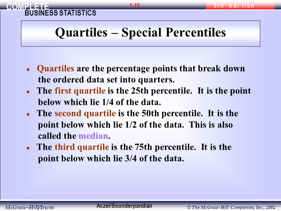 COMPLETE 5 t h e d i t i o n BUSINESS STATISTICS Aczel/Sounderpandian McGraw-Hill/Irwin © The McGraw-Hill Companies, Inc., l Quartiles are the percentage points that break down the ordered data set into quarters.