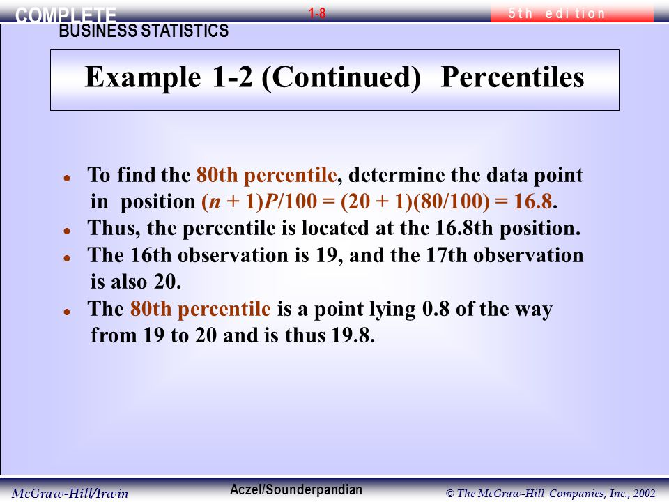 COMPLETE 5 t h e d i t i o n BUSINESS STATISTICS Aczel/Sounderpandian McGraw-Hill/Irwin © The McGraw-Hill Companies, Inc., l To find the 80th percentile, determine the data point in position (n + 1)P/100 = (20 + 1)(80/100) = 16.8.