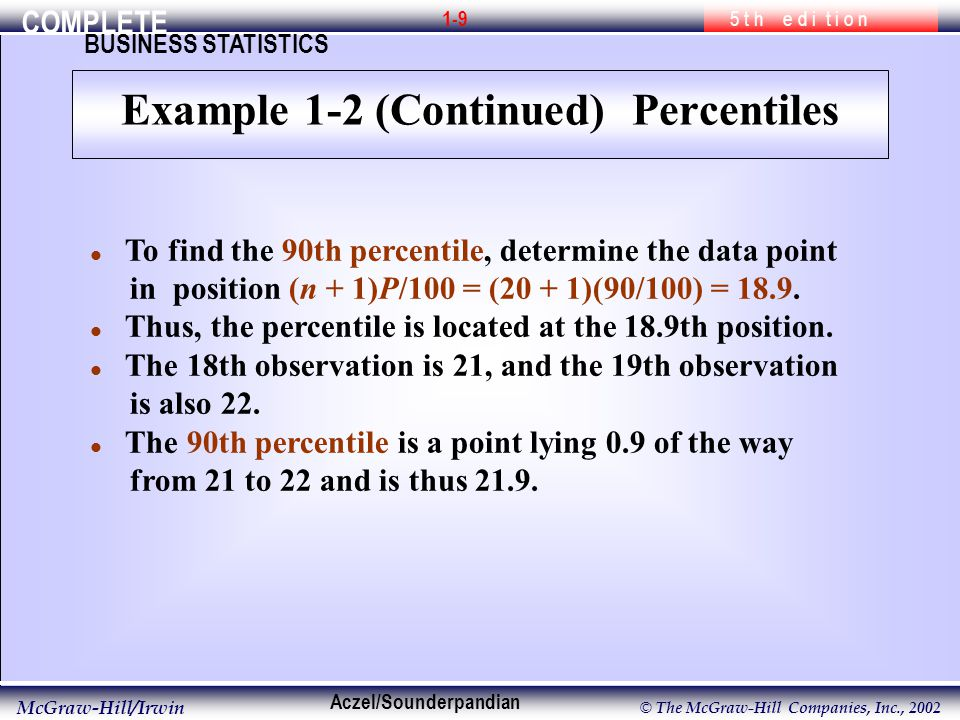 COMPLETE 5 t h e d i t i o n BUSINESS STATISTICS Aczel/Sounderpandian McGraw-Hill/Irwin © The McGraw-Hill Companies, Inc., l To find the 90th percentile, determine the data point in position (n + 1)P/100 = (20 + 1)(90/100) = 18.9.