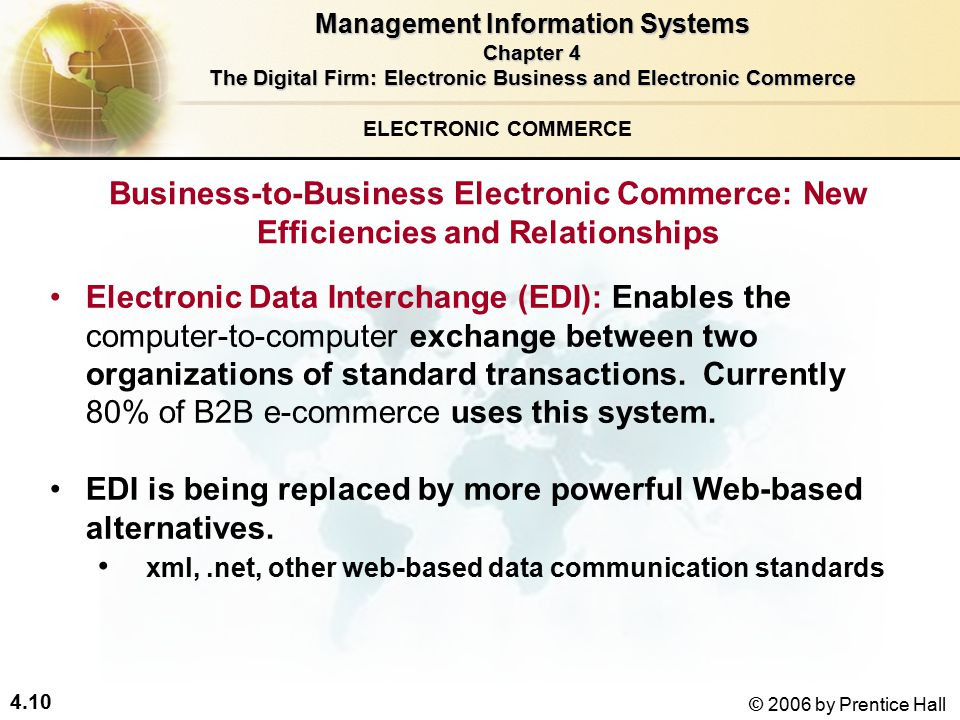 4.10 © 2006 by Prentice Hall Electronic Data Interchange (EDI): Enables the computer-to-computer exchange between two organizations of standard transactions.