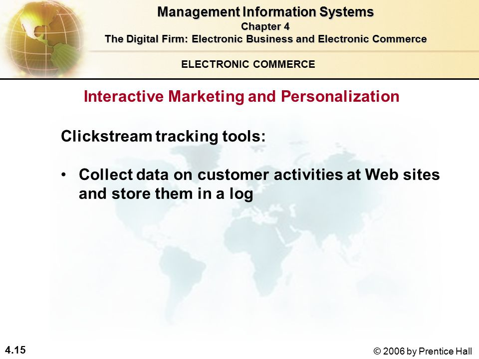 4.15 © 2006 by Prentice Hall Clickstream tracking tools: Collect data on customer activities at Web sites and store them in a log ELECTRONIC COMMERCE Interactive Marketing and Personalization Management Information Systems Chapter 4 The Digital Firm: Electronic Business and Electronic Commerce