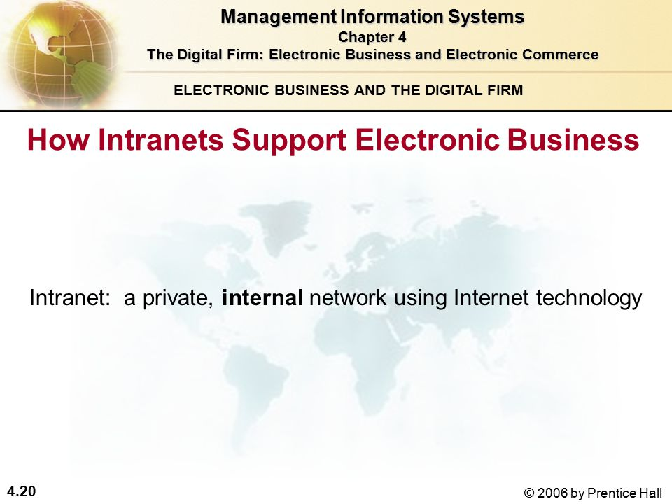 4.20 © 2006 by Prentice Hall ELECTRONIC BUSINESS AND THE DIGITAL FIRM How Intranets Support Electronic Business Management Information Systems Chapter 4 The Digital Firm: Electronic Business and Electronic Commerce Intranet: a private, internal network using Internet technology