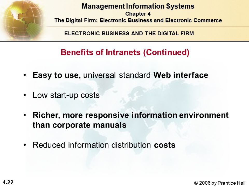 4.22 © 2006 by Prentice Hall ELECTRONIC BUSINESS AND THE DIGITAL FIRM Easy to use, universal standard Web interface Low start-up costs Richer, more responsive information environment than corporate manuals Reduced information distribution costs Management Information Systems Chapter 4 The Digital Firm: Electronic Business and Electronic Commerce Benefits of Intranets (Continued)