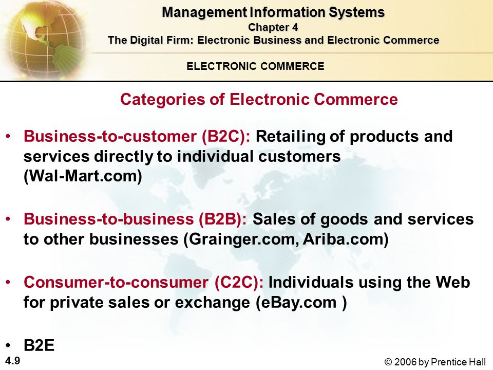 4.9 © 2006 by Prentice Hall ELECTRONIC COMMERCE Categories of Electronic Commerce Business-to-customer (B2C): Retailing of products and services directly to individual customers (Wal-Mart.com) Business-to-business (B2B): Sales of goods and services to other businesses (Grainger.com, Ariba.com) Consumer-to-consumer (C2C): Individuals using the Web for private sales or exchange (eBay.com ) B2E Management Information Systems Chapter 4 The Digital Firm: Electronic Business and Electronic Commerce