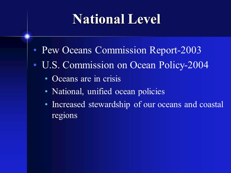 National Level Pew Oceans Commission Report-2003 U.S.