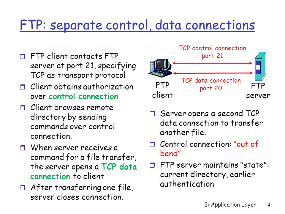 2: Application Layer 4 FTP: separate control, data connections r FTP client contacts FTP server at port 21, specifying TCP as transport protocol r Client obtains authorization over control connection r Client browses remote directory by sending commands over control connection.