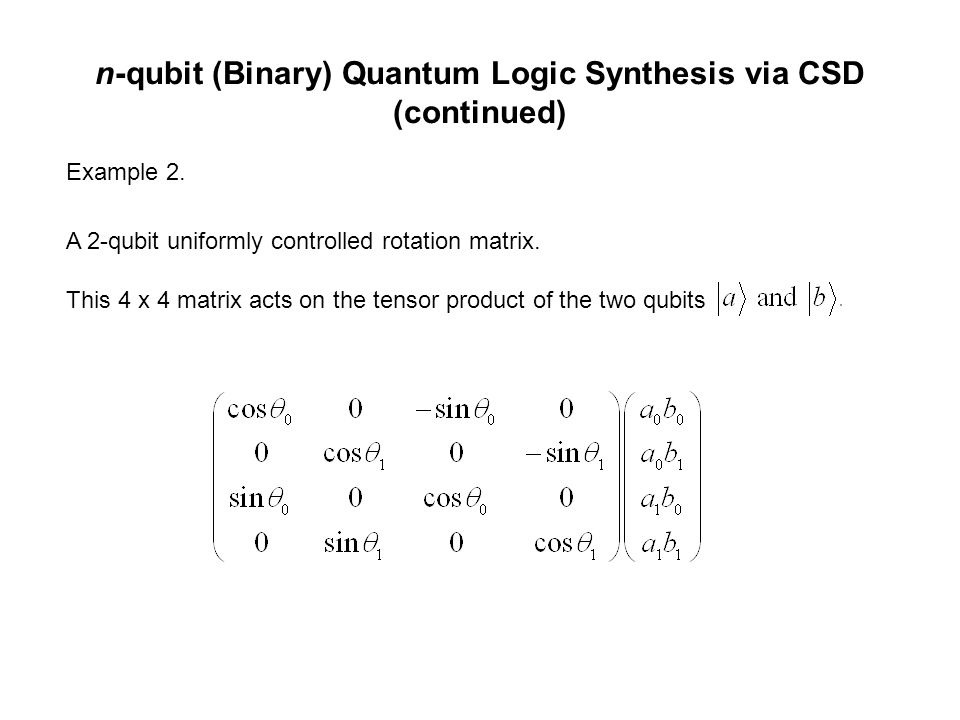 n-qubit (Binary) Quantum Logic Synthesis via CSD (continued) Example 2.
