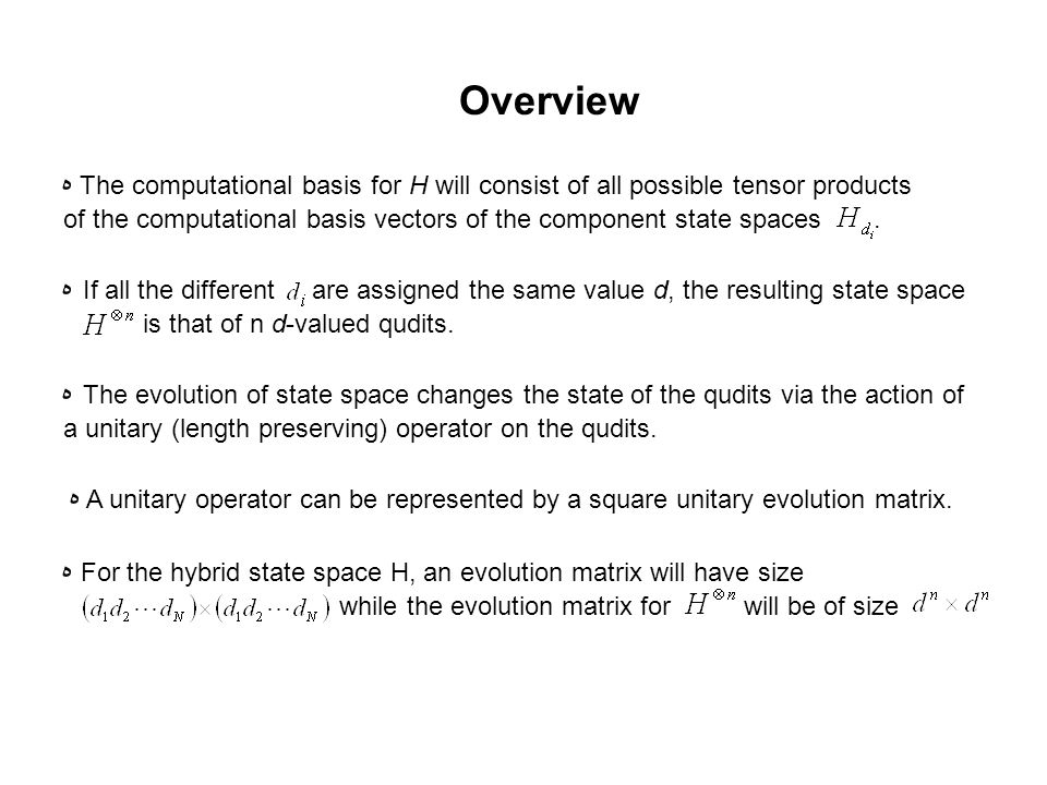 ه The computational basis for H will consist of all possible tensor products of the computational basis vectors of the component state spaces.