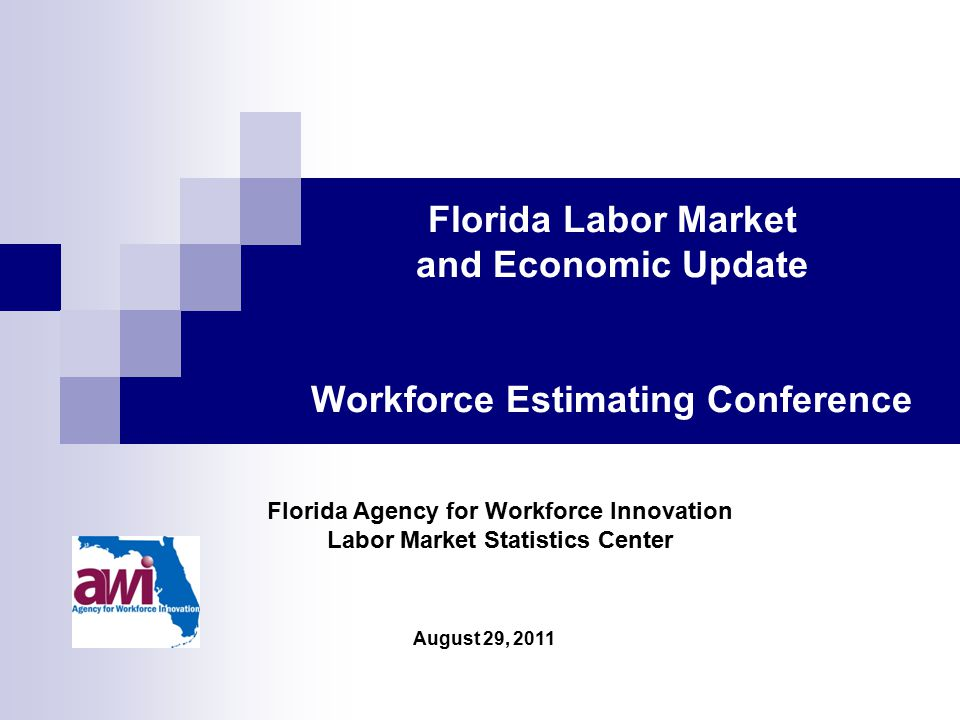 August 29, 2011 Florida Agency for Workforce Innovation Labor Market Statistics Center Florida Labor Market and Economic Update Workforce Estimating Conference
