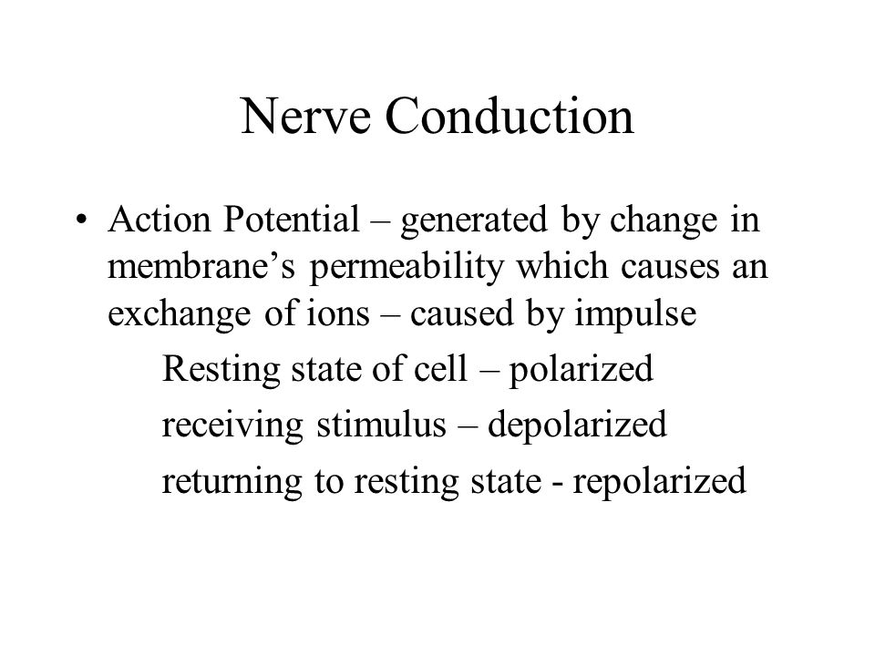 Nerve Conduction Action Potential – generated by change in membrane's permeability which causes an exchange of ions – caused by impulse Resting state of cell – polarized receiving stimulus – depolarized returning to resting state - repolarized