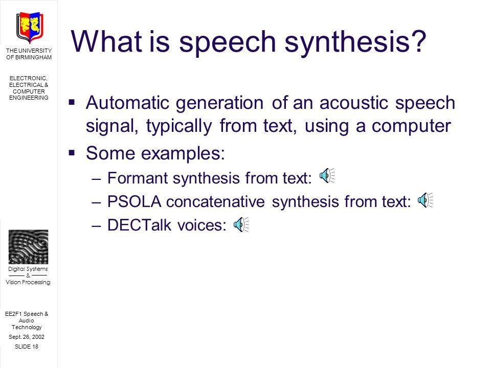 EE2F1 Speech & Audio Technology Sept  26, 2002 SLIDE 1 THE