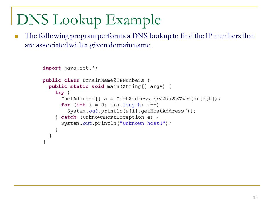 12 DNS Lookup Example The following program performs a DNS lookup to find the IP numbers that are associated with a given domain name.