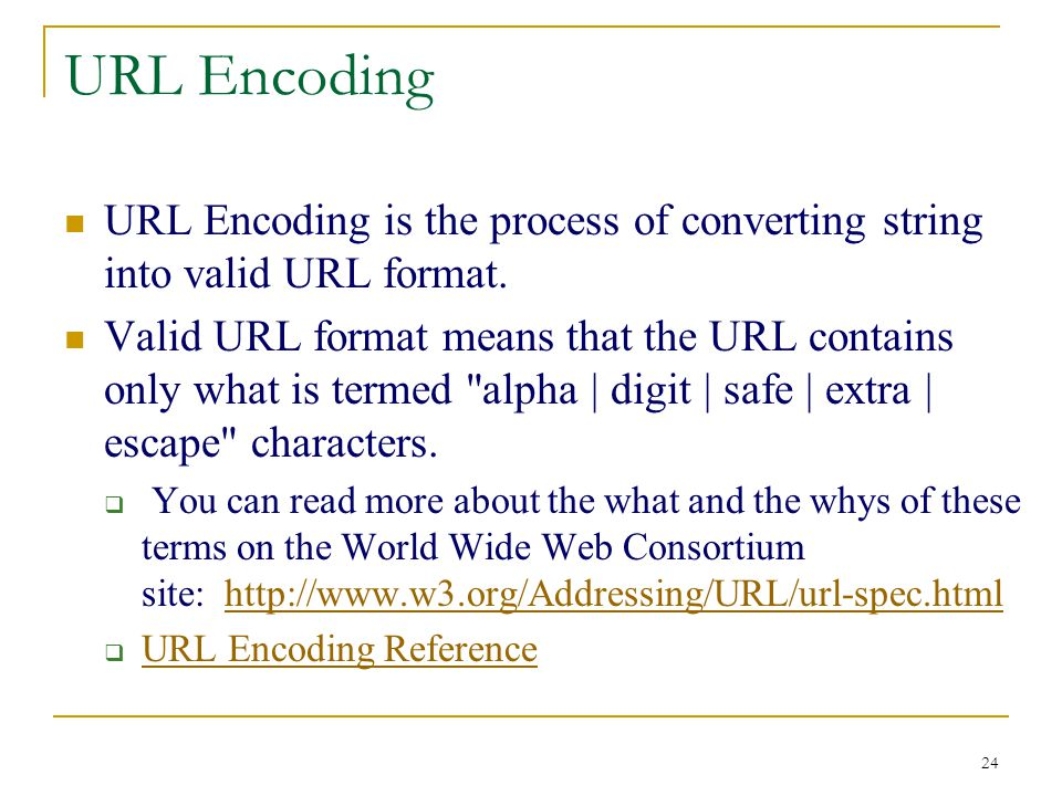 24 URL Encoding URL Encoding is the process of converting string into valid URL format.