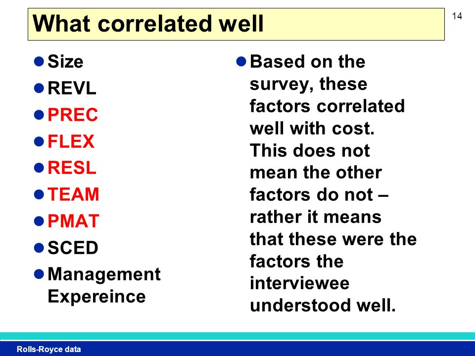 Rolls-Royce data What correlated well Size REVL PREC FLEX RESL TEAM PMAT SCED Management Expereince Based on the survey, these factors correlated well with cost.