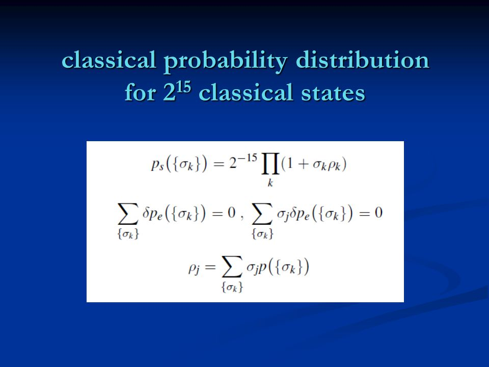 classical probability distribution for 2 15 classical states