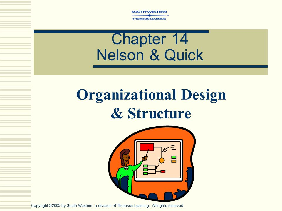 Chapter 14 Nelson & Quick Organizational Design & Structure Copyright ©2005 by South-Western, a division of Thomson Learning.