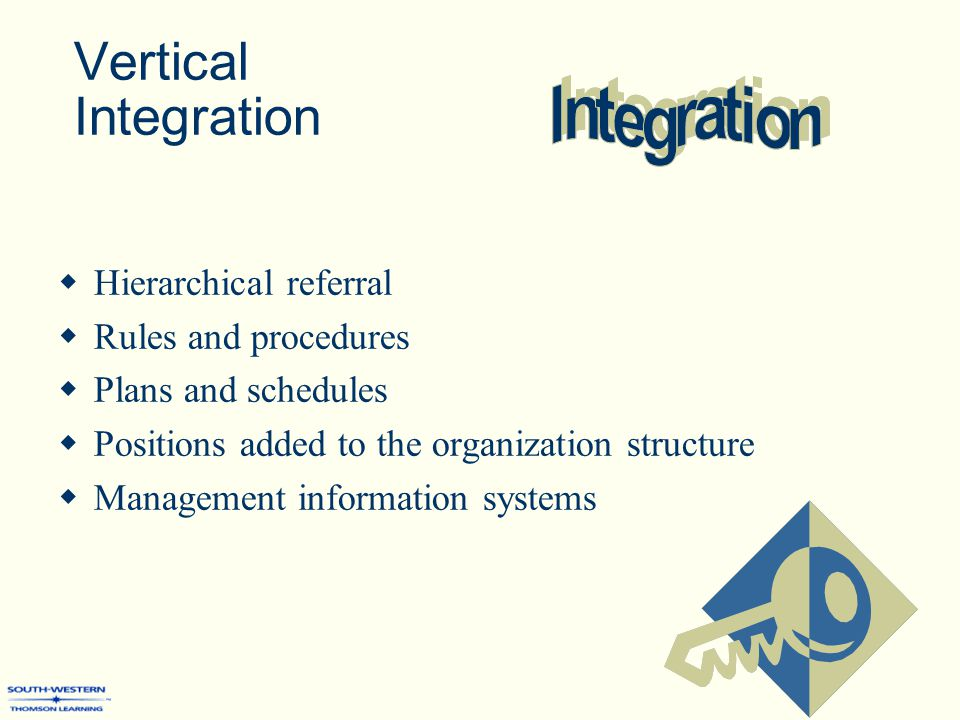 Vertical Integration  Hierarchical referral  Rules and procedures  Plans and schedules  Positions added to the organization structure  Management information systems