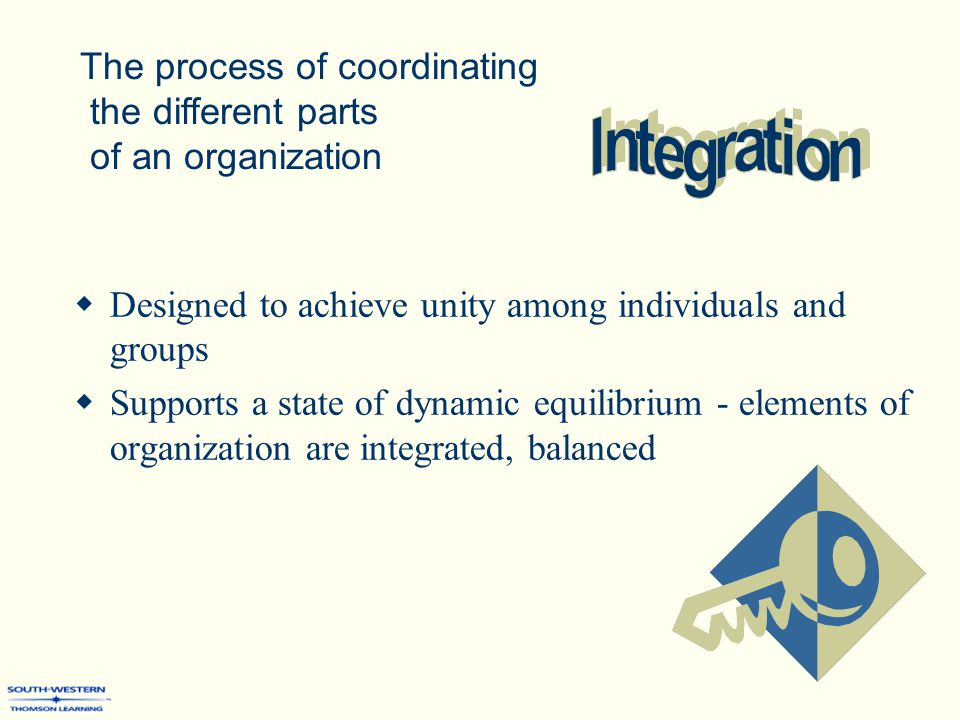  Designed to achieve unity among individuals and groups  Supports a state of dynamic equilibrium - elements of organization are integrated, balanced The process of coordinating the different parts of an organization
