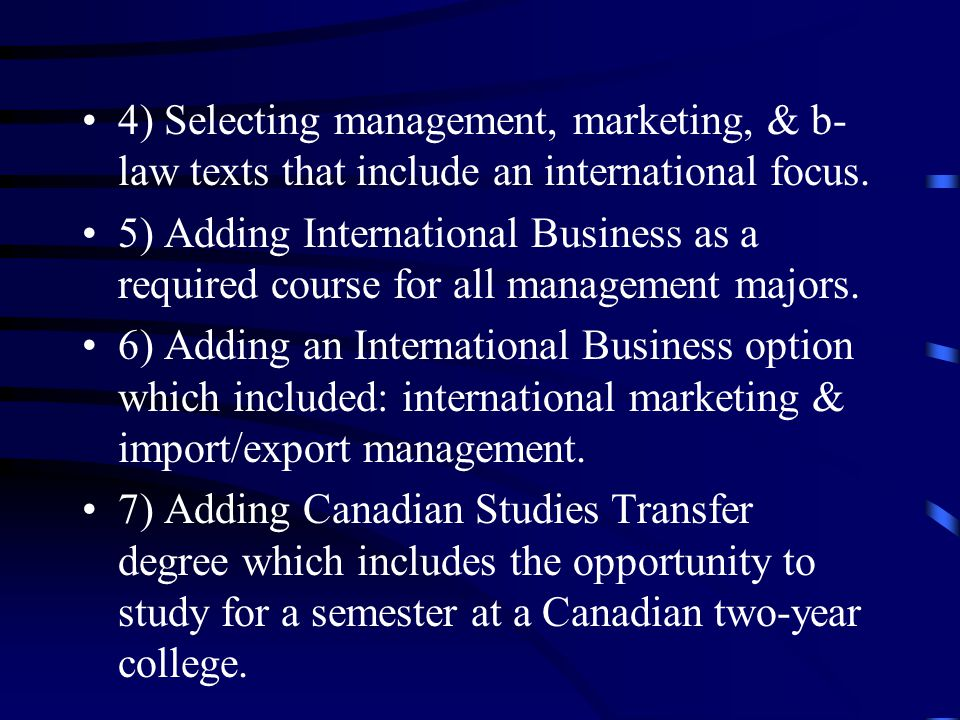 Status Of International Business In Community Colleges Presented By