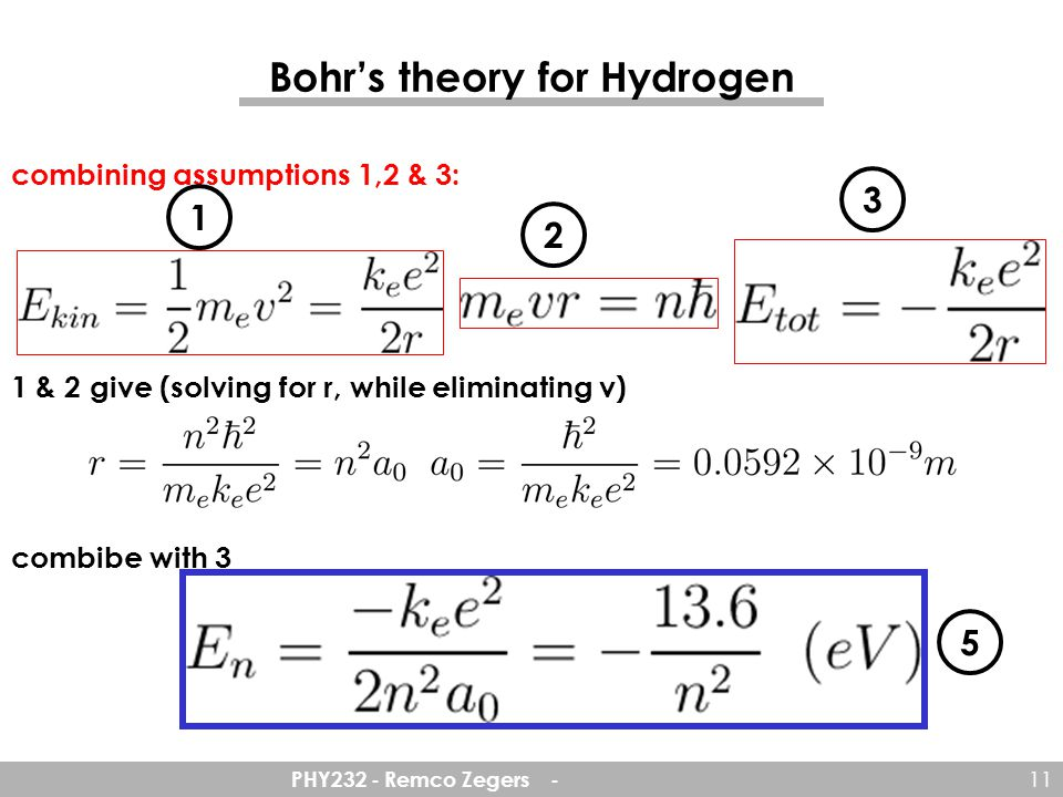 PHY232 - Remco Zegers - 11 combining assumptions 1,2 & 3: 1 & 2 give (solving for r, while eliminating v) combibe with 3 Bohr's theory for Hydrogen