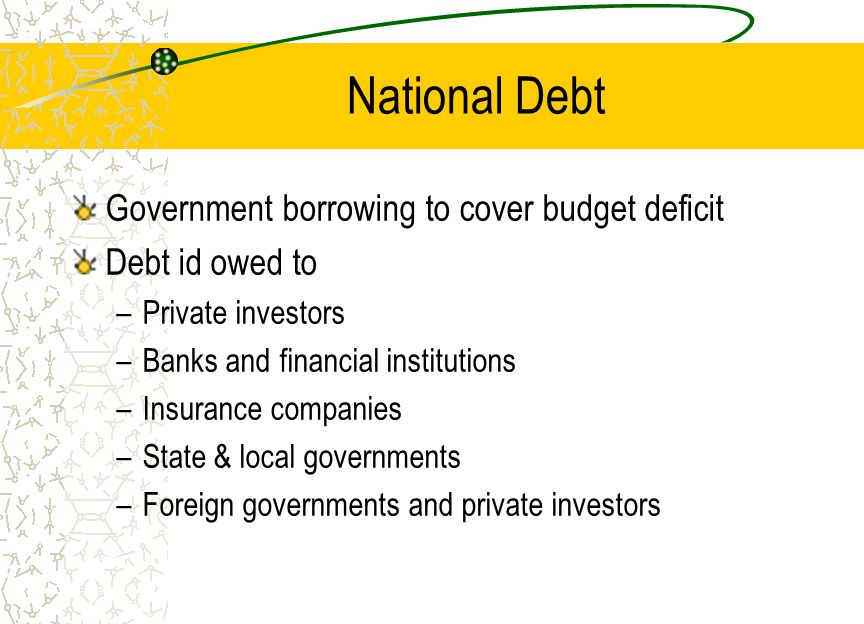 National Debt Government borrowing to cover budget deficit Debt id owed to –Private investors –Banks and financial institutions –Insurance companies –State & local governments –Foreign governments and private investors