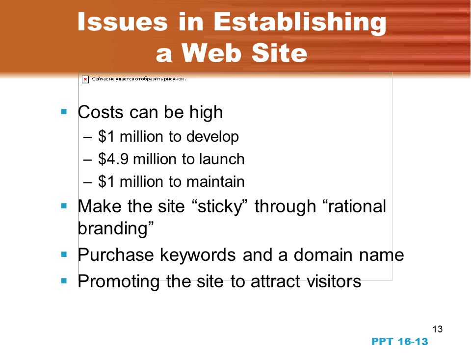 13 PPT Issues in Establishing a Web Site  Costs can be high –$1 million to develop –$4.9 million to launch –$1 million to maintain  Make the site sticky through rational branding  Purchase keywords and a domain name  Promoting the site to attract visitors