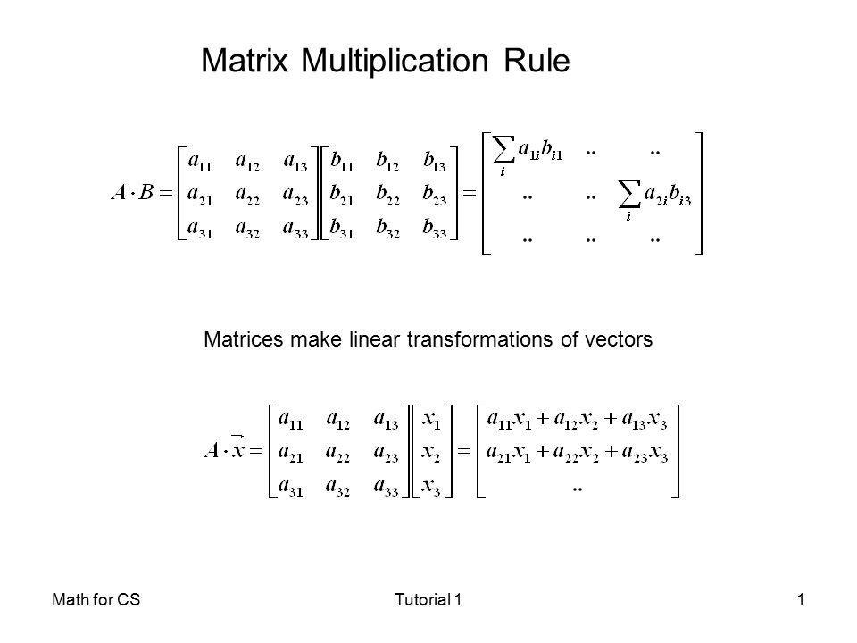 chapter 7 matrix multiplication slides from Such as matrix multiplication of square matrices is commutative you can provide or have them provide counter examples do not present the material in chapter 2 in class.