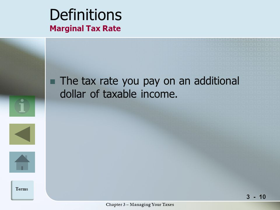 Chapter 3 – Managing Your Taxes Definitions Marginal Tax Rate The tax rate you pay on an additional dollar of taxable income.