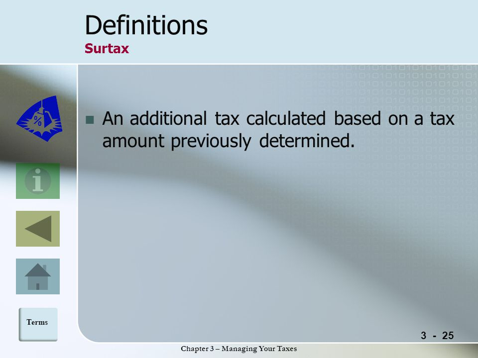 Chapter 3 – Managing Your Taxes Definitions Surtax An additional tax calculated based on a tax amount previously determined.
