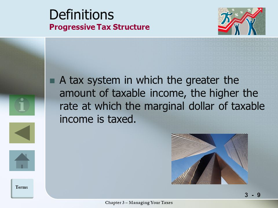 3 - 9 Chapter 3 – Managing Your Taxes Definitions Progressive Tax Structure A tax system in which the greater the amount of taxable income, the higher the rate at which the marginal dollar of taxable income is taxed.