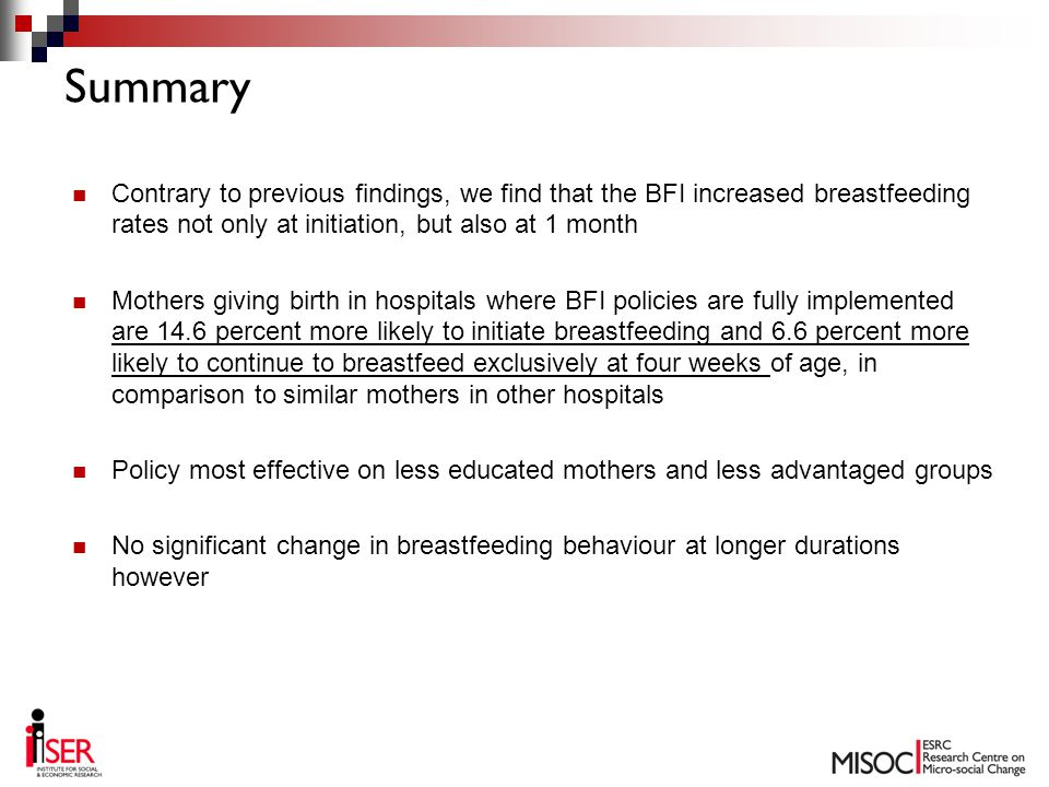 Contrary to previous findings, we find that the BFI increased breastfeeding rates not only at initiation, but also at 1 month Mothers giving birth in hospitals where BFI policies are fully implemented are 14.6 percent more likely to initiate breastfeeding and 6.6 percent more likely to continue to breastfeed exclusively at four weeks of age, in comparison to similar mothers in other hospitals Policy most effective on less educated mothers and less advantaged groups No significant change in breastfeeding behaviour at longer durations however Summary