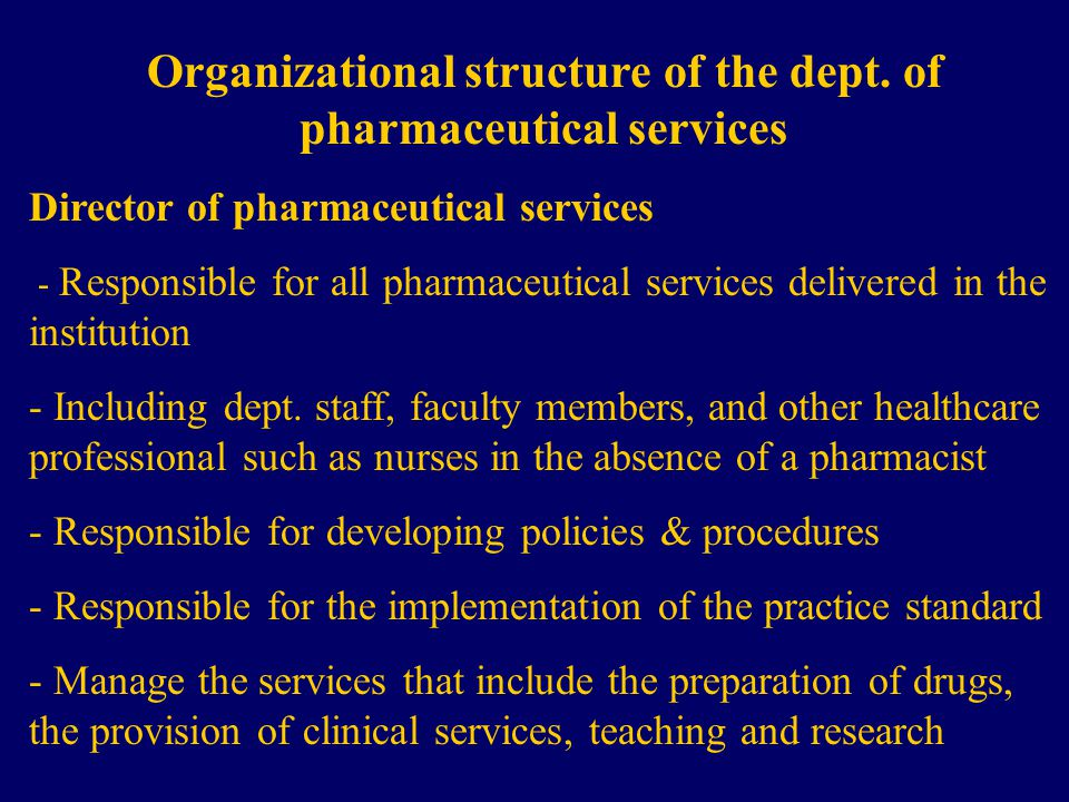 Organizational structure of the dept.
