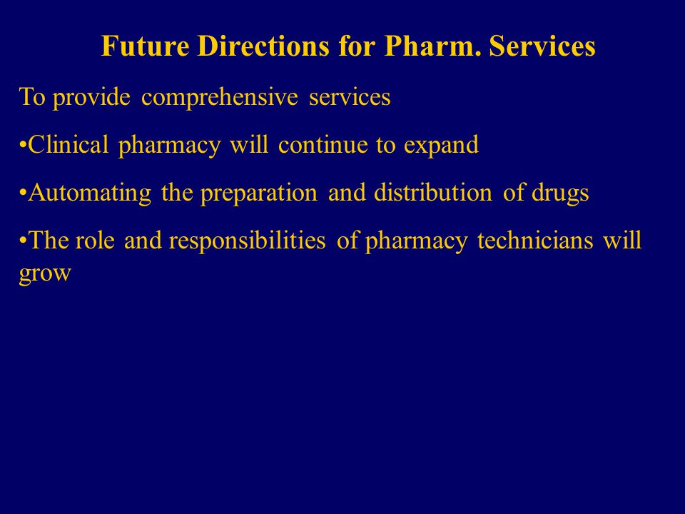 Future Directions for Pharm.