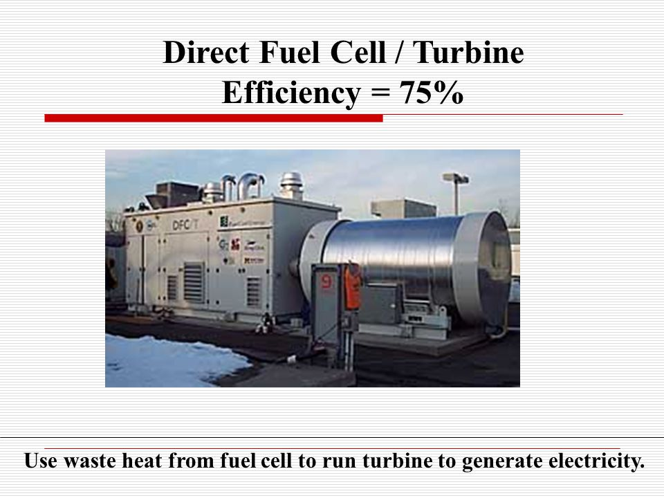 Direct Fuel Cell / Turbine Efficiency = 75% Use waste heat from fuel cell to run turbine to generate electricity.