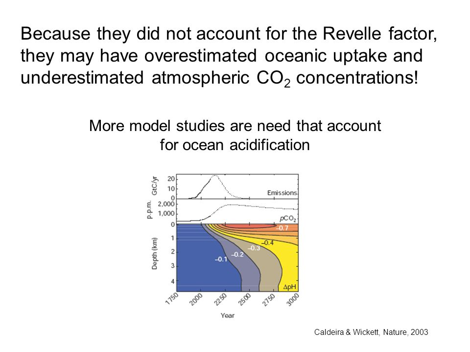 Because they did not account for the Revelle factor, they may have overestimated oceanic uptake and underestimated atmospheric CO 2 concentrations.