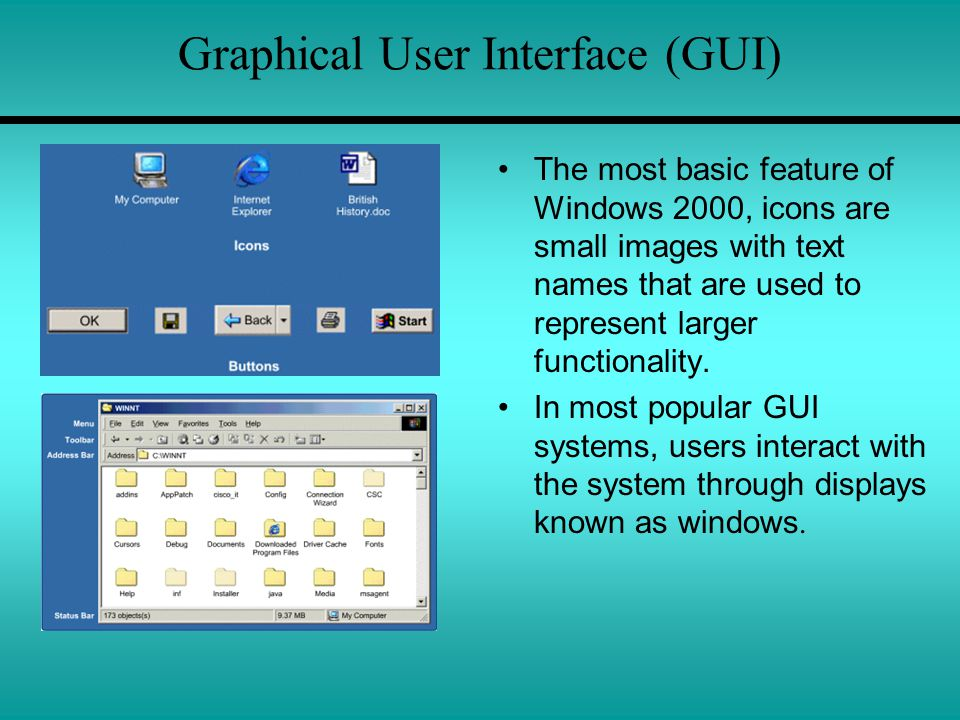 Graphical User Interface (GUI) The most basic feature of Windows 2000, icons are small images with text names that are used to represent larger functionality.