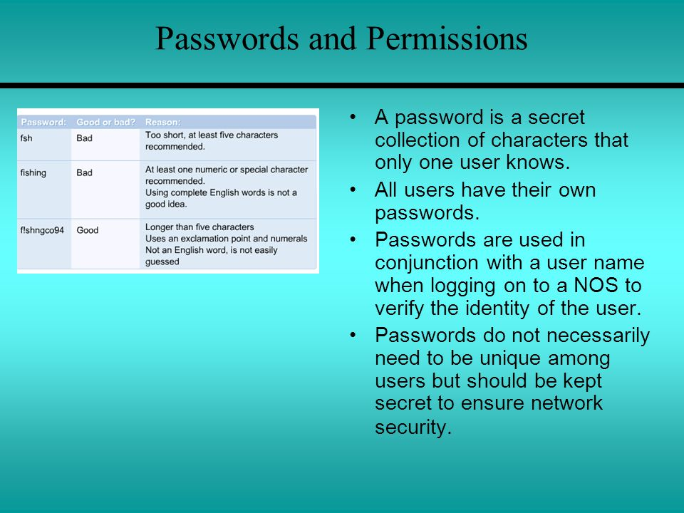 Passwords and Permissions A password is a secret collection of characters that only one user knows.