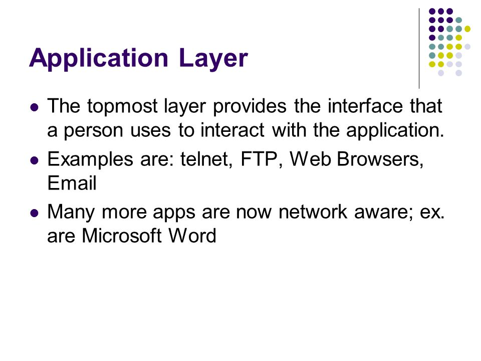 Application Layer The topmost layer provides the interface that a person uses to interact with the application.