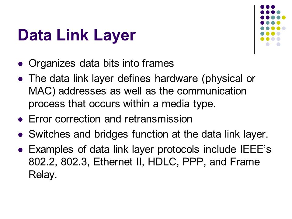Data Link Layer Organizes data bits into frames The data link layer defines hardware (physical or MAC) addresses as well as the communication process that occurs within a media type.