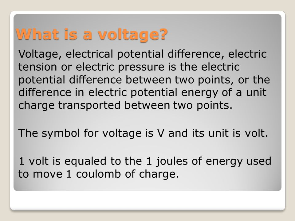 What is a voltage.