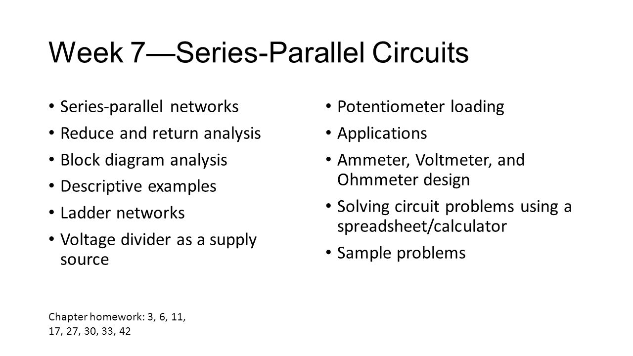 Circuit Theory I Elec 105 Study Guide For Students Using Series Parallel Diagram 22 Week 7series