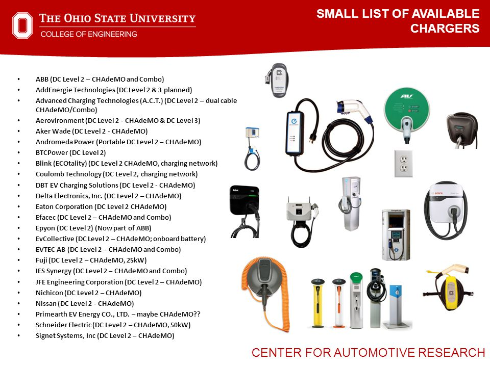CENTER FOR AUTOMOTIVE RESEARCH SMALL LIST OF AVAILABLE CHARGERS ABB (DC Level 2 – CHAdeMO and Combo) AddEnergie Technologies (DC Level 2 & 3 planned) Advanced Charging Technologies (A.C.T.) (DC Level 2 – dual cable CHAdeMO/Combo) Aerovironment (DC Level 2 - CHAdeMO & DC Level 3) Aker Wade (DC Level 2 - CHAdeMO) Andromeda Power (Portable DC Level 2 – CHAdeMO) BTCPower (DC Level 2) Blink (ECOtality) (DC Level 2 CHAdeMO, charging network) Coulomb Technology (DC Level 2, charging network) DBT EV Charging Solutions (DC Level 2 - CHAdeMO) Delta Electronics, Inc.