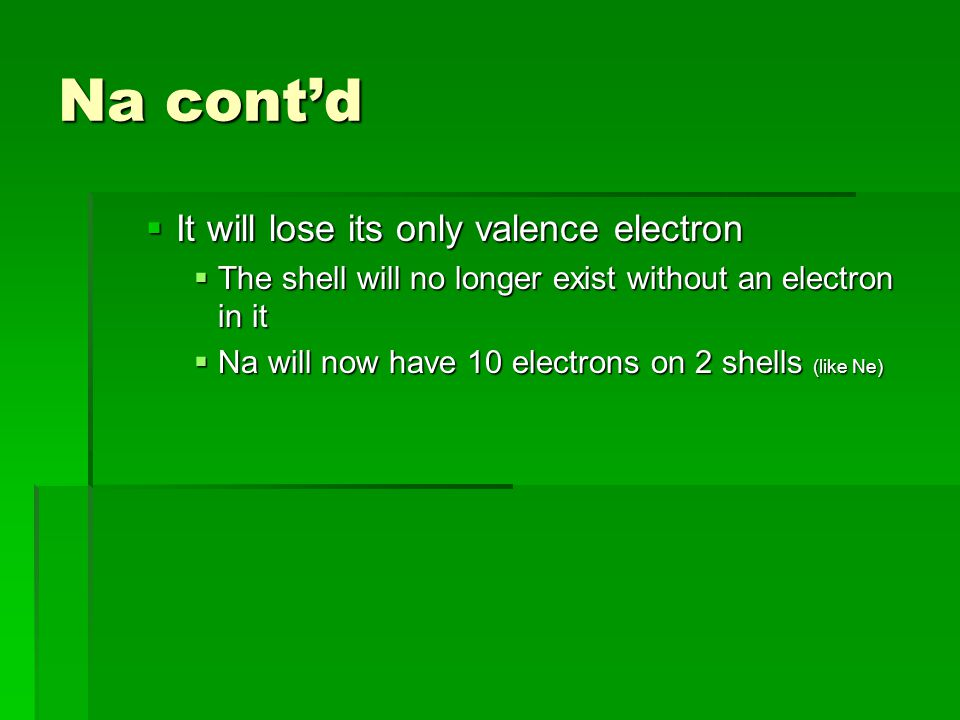 Na cont'd  It will lose its only valence electron  The shell will no longer exist without an electron in it  Na will now have 10 electrons on 2 shells (like Ne)