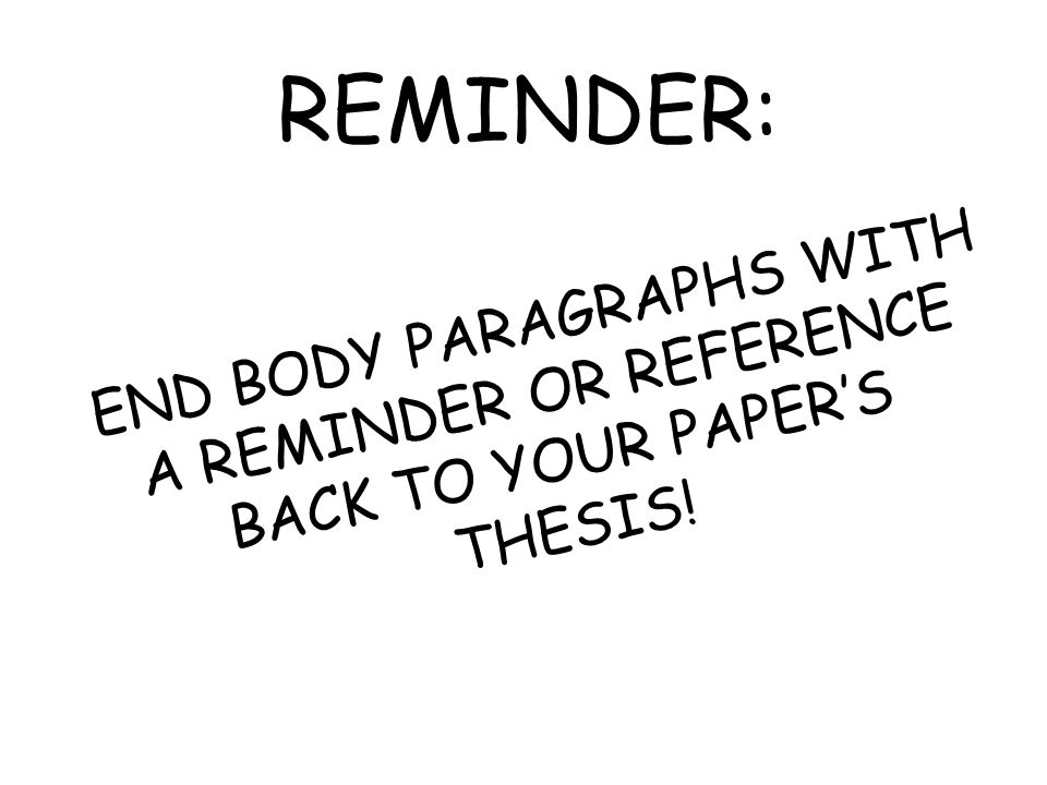 REMINDER: END BODY PARAGRAPHS WITH A REMINDER OR REFERENCE BACK TO YOUR PAPER'S THESIS!