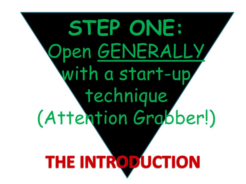 STEP ONE: Open GENERALLY with a start-up technique (Attention Grabber!)