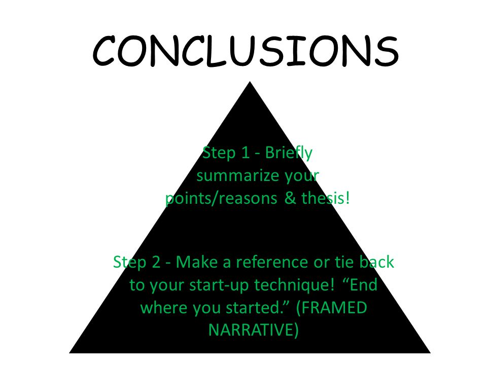 CONCLUSIONS Step 1 - Briefly summarize your points/reasons & thesis.