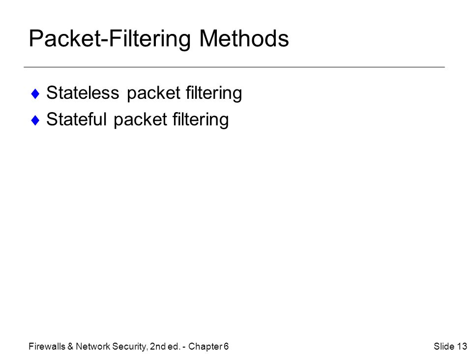 Packet-Filtering Methods  Stateless packet filtering  Stateful packet filtering Slide 13Firewalls & Network Security, 2nd ed.