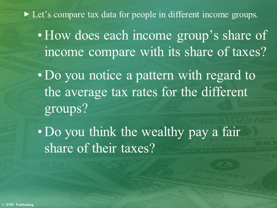 Let's compare tax data for people in different income groups.