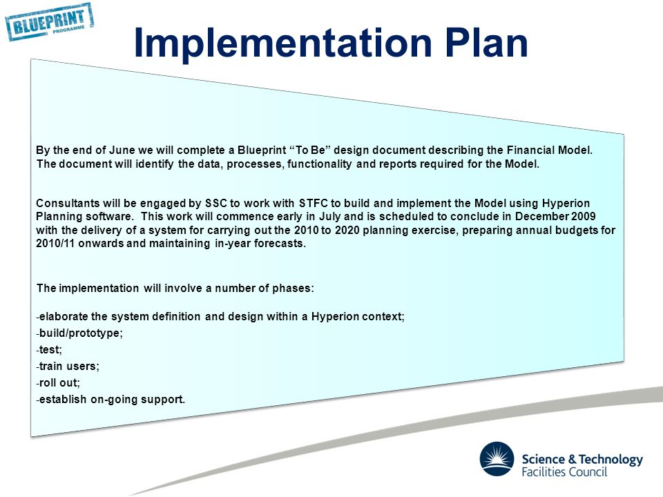 By the end of June we will complete a Blueprint To Be design document describing the Financial Model.