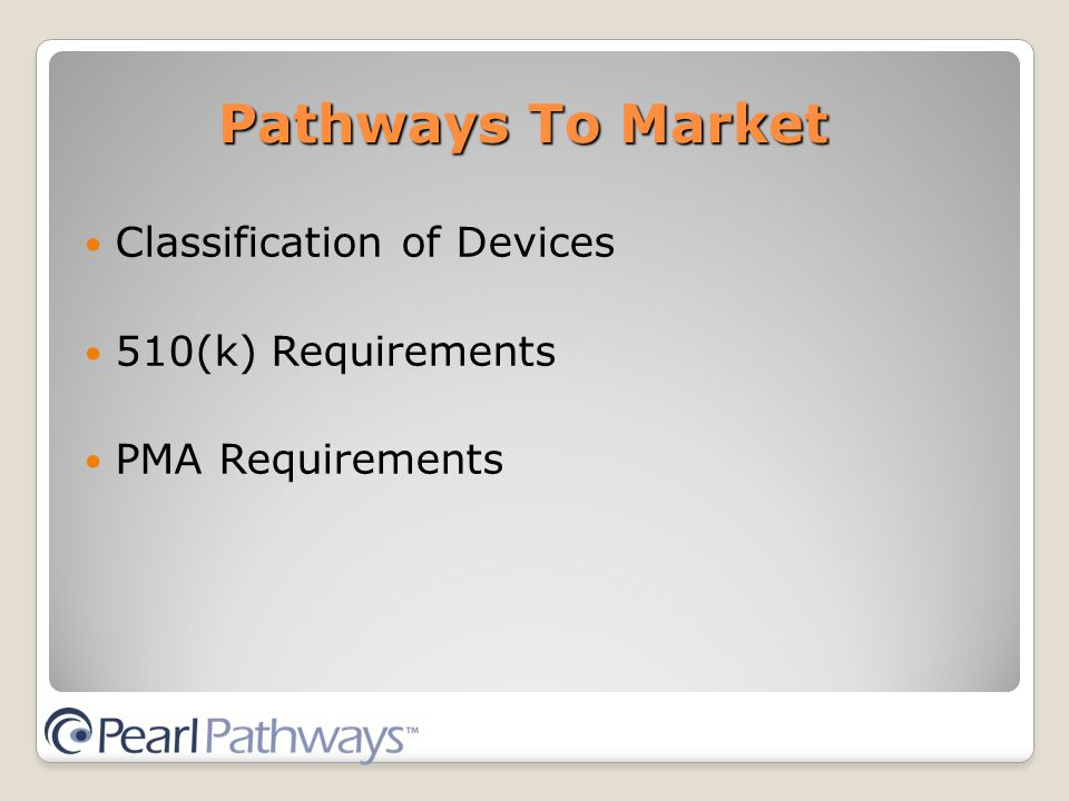 Classification of Devices 510(k) Requirements PMA Requirements